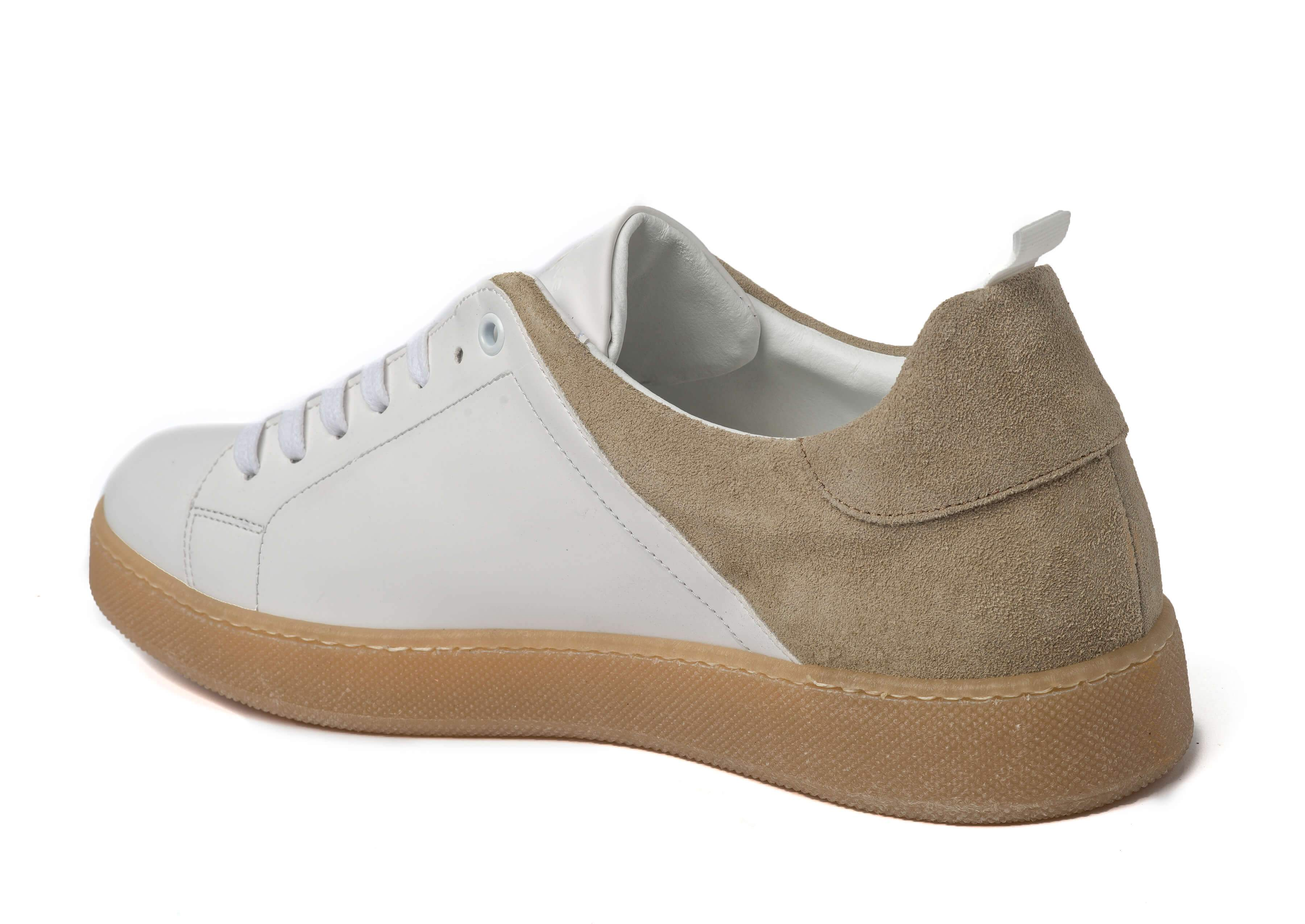 White Beige Sneakers for Men - Left 3839-WB - Jared Lang
