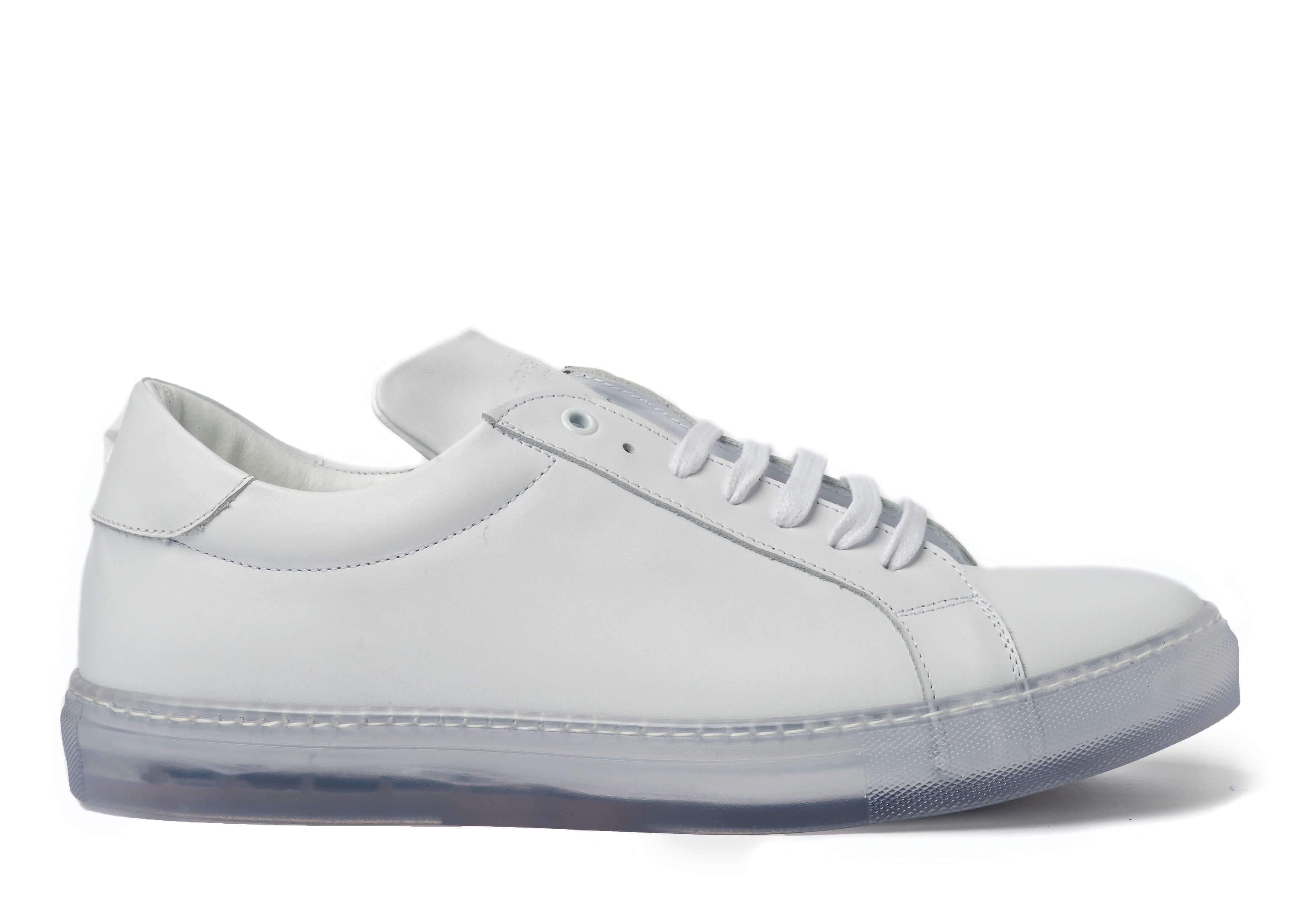 White Clear Sole Sneakers for Men - Right 1818-CRW - Jared Lang