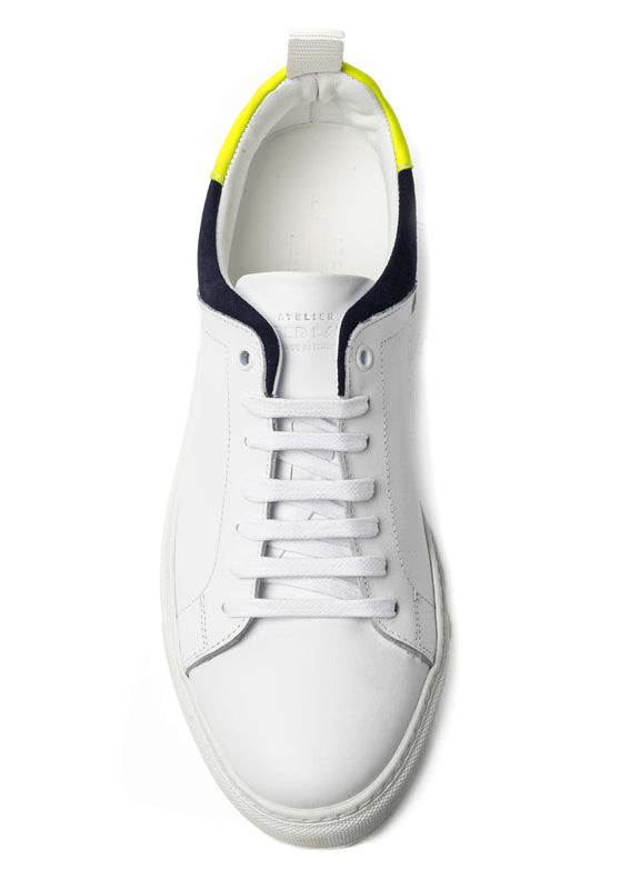 White Leather Navy Suede Sneakers for Men 3940-WNY