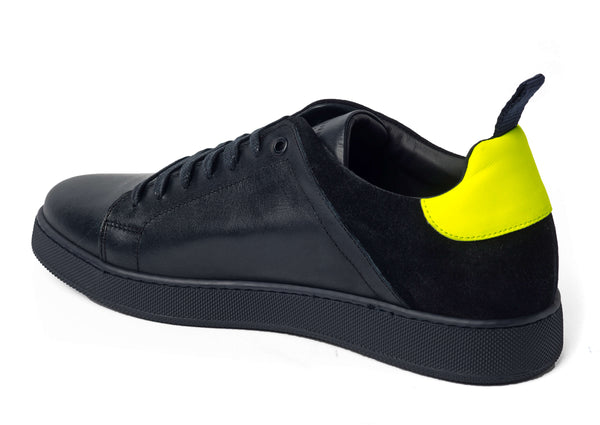 Navy Leather Suede Sneakers for Men 3940-NNY