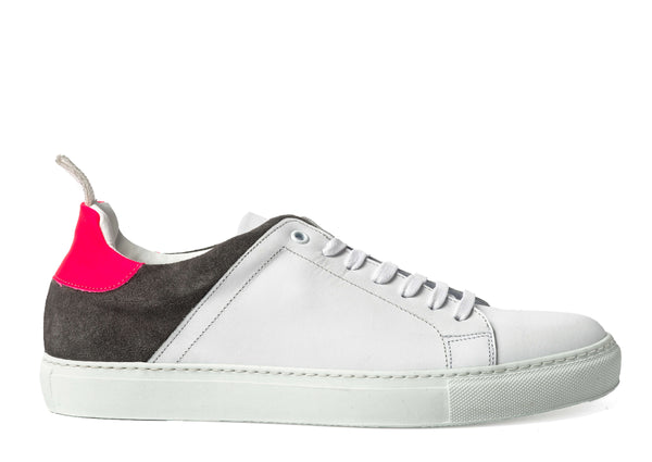 White Leather Grey Suede Sneakers for Men 3940-WGP - Jared Lang