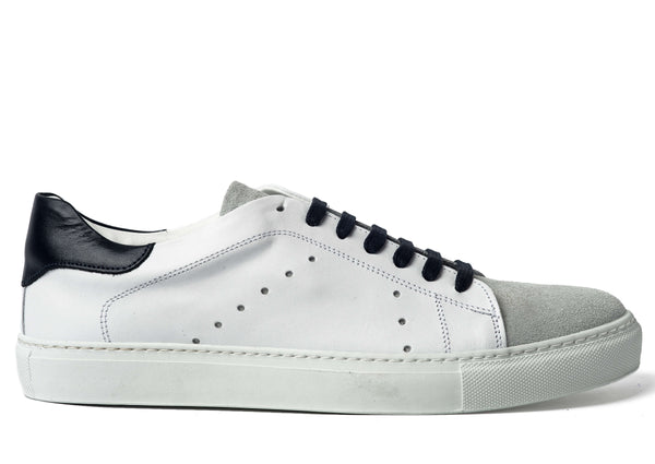 White Leather Suede Sneakers for Men 3636-WGB