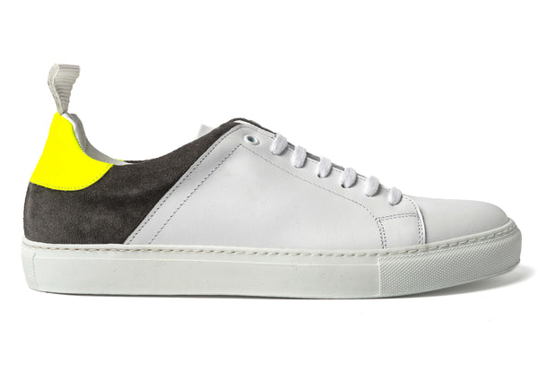 White Leather Grey Suede Sneakers for Men 3940-WGY - Jared Lang