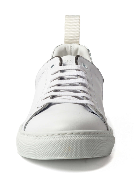 White Leather Grey Suede Reflective Sneakers for Men 3940-WGR - Jared Lang