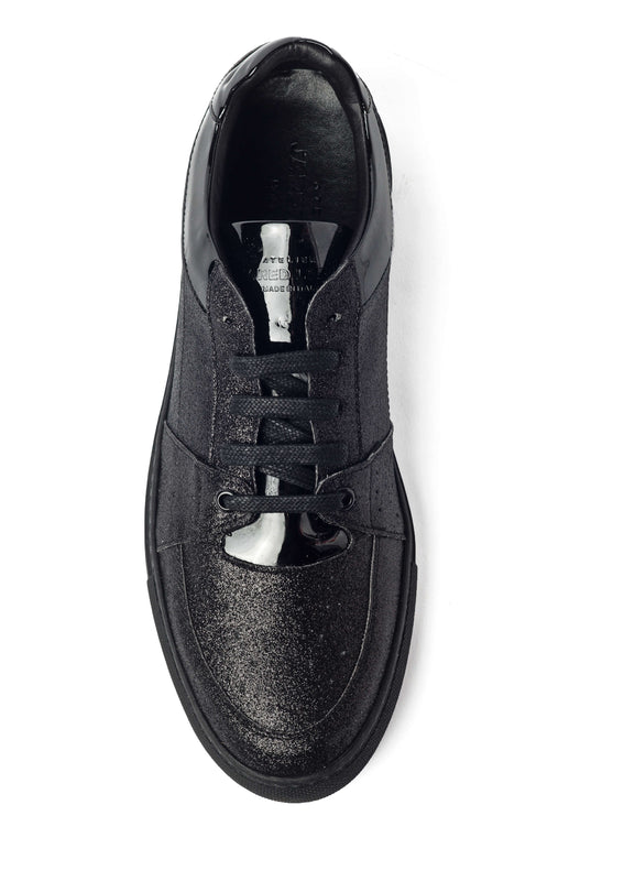 Triple Black Leather Glitter Sneakers for Men 4055-BGB