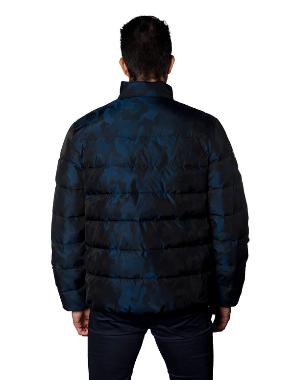 Navy Camouflage Jacquard Quilted Down Jacket Geneva 2C - Front Zipped - Jared Lang