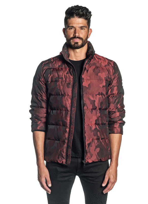 Red Camouflage Quilted Down Jacket Geneva 2D - Front Unbuttoned - Jared Lang