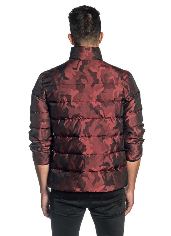 Red Camouflage Quilted Down Jacket Geneva 2D - Back - Jared Lang