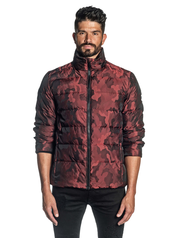 Red Camouflage Quilted Down Jacket Geneva 2D - Front Buttoned - Jared Lang