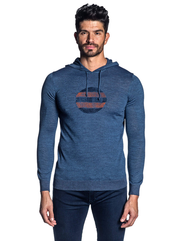 Blue Hoodie for Men H-02681-04 - Front - Jared Lang