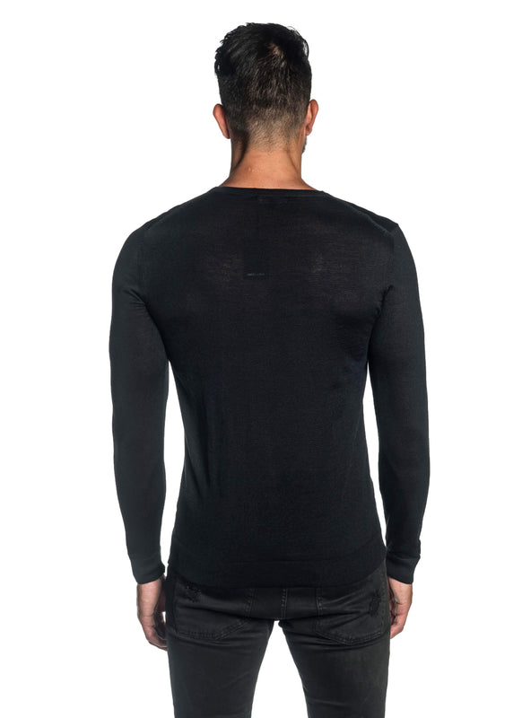 Black Crew Neck Sweater for Men H-02682-01 - Back - Jared Lang