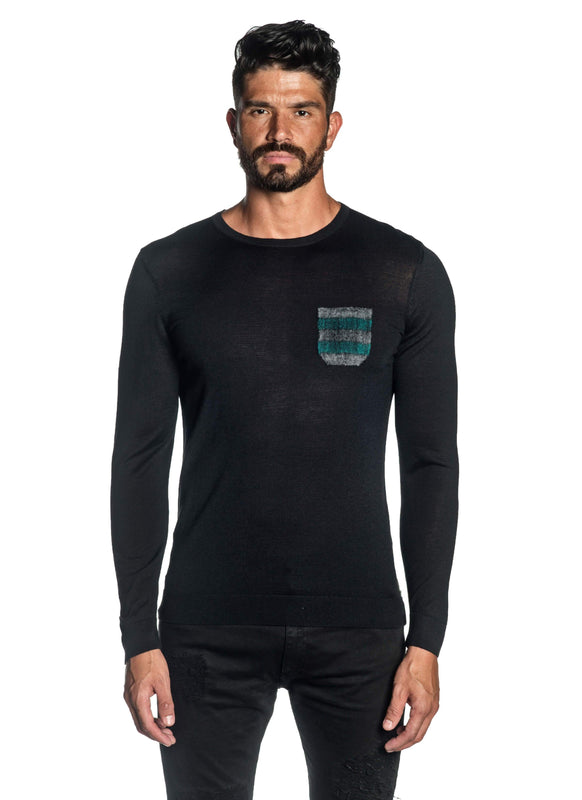Black Crew Neck Sweater for Men H-02682-01 - Front - Jared Lang