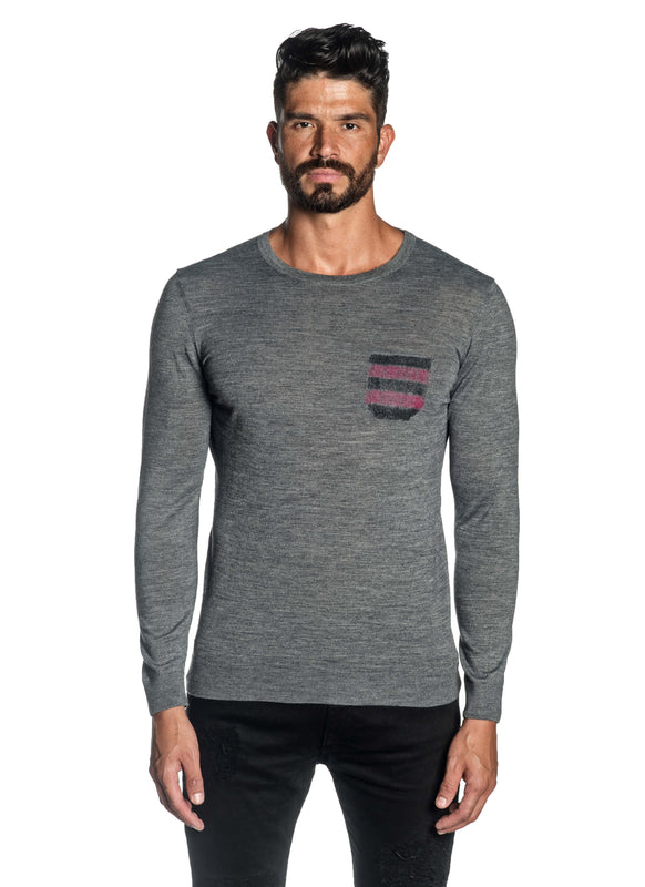 Grey Crew Neck Sweater for Men H-02682-03 - Front - Jared Lang