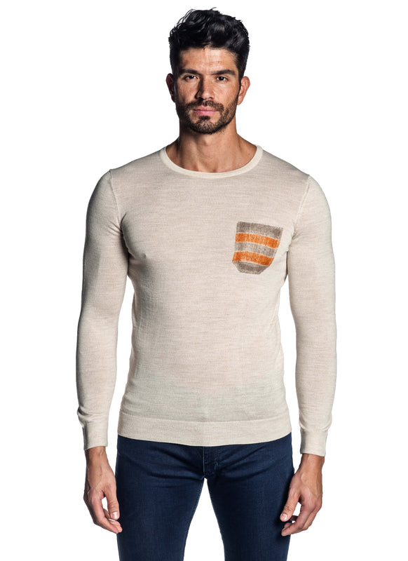 Off-White Crew Neck Sweater for Men H-02682-05 - Front - Jared Lang