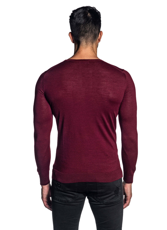 Red Crew Neck Sweater for Men H-02682-06 - Back - Jared Lang