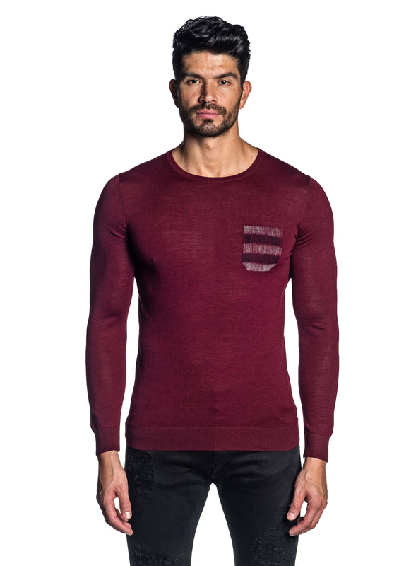 Red Crew Neck Sweater for Men H-02682-06 - Front - Jared Lang