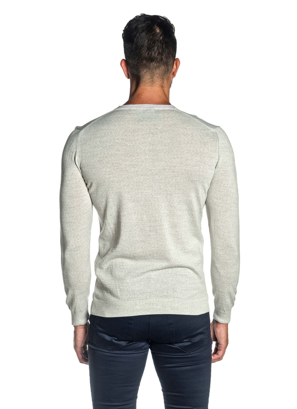 Heather Grey V-Neck Sweater for Men H-02683-03 - Back - Jared Lang