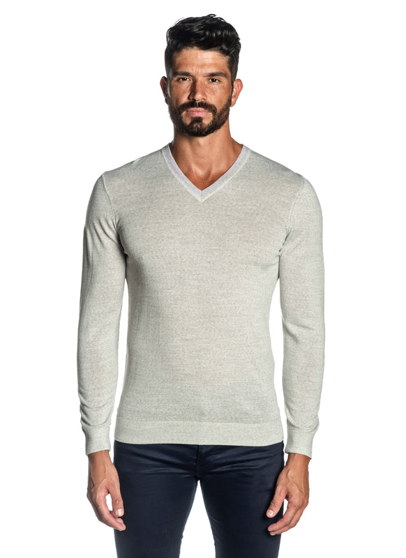 Heather Grey V-Neck Sweater for Men H-02683-03 - Front - Jared Lang