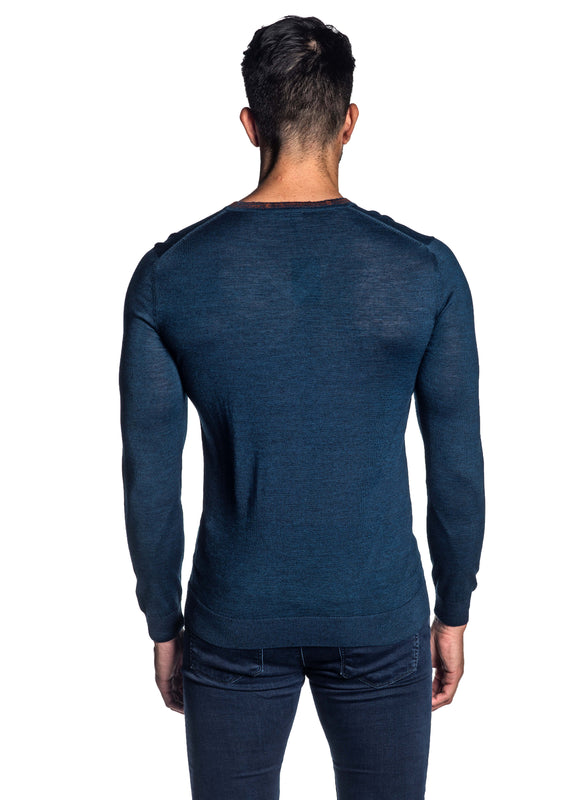 Navy V-Neck Sweater for Men H-02683-06 - Back - Jared Lang