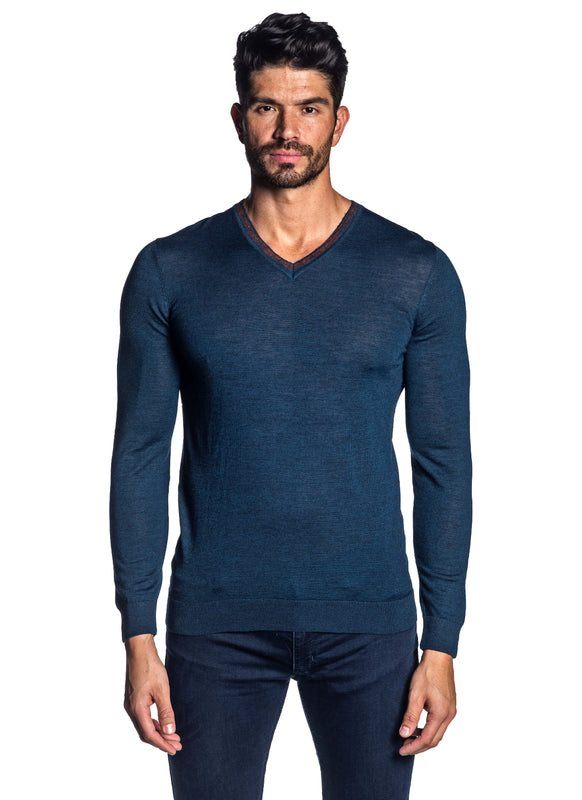 Navy V-Neck Sweater for Men H-02683-06 - Front - Jared Lang