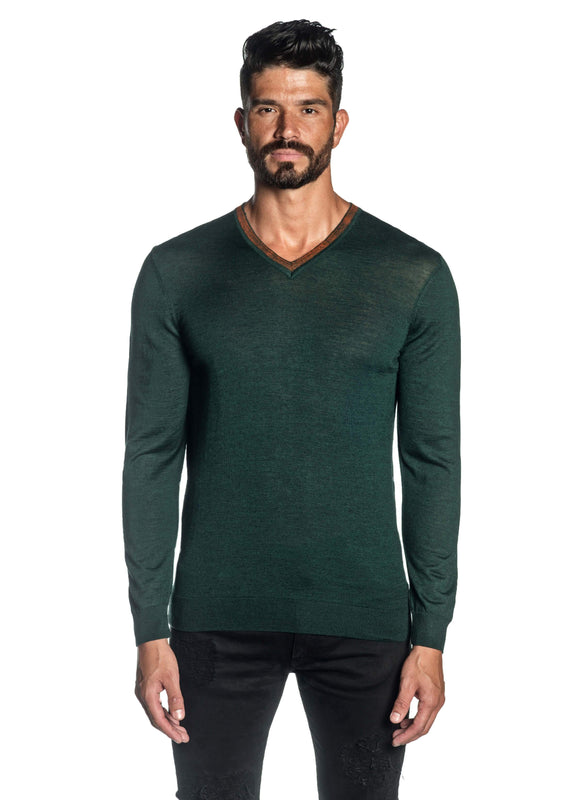 Green V-Neck Sweaters for Men H-02683-08