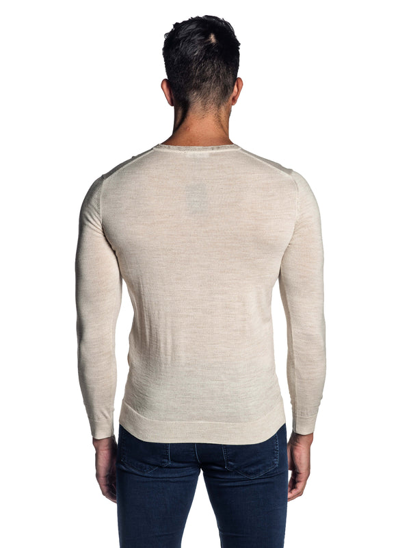Off-White V-neck Sweater for Men H-02683-11 - Jared Lang
