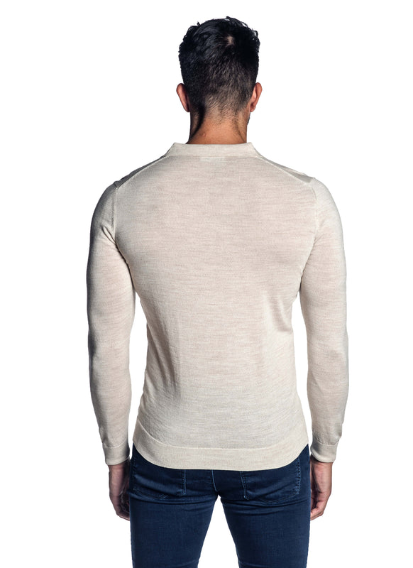 Off-White Polo Sweater for Men H-02684-05 - Back - Jared Lang