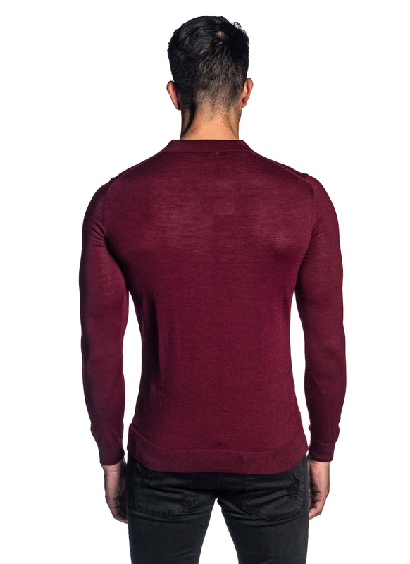 Red Polo Sweater for Men H-02684-06 - Back - Jared Lang