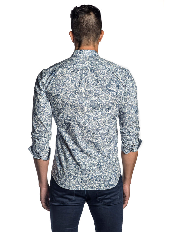 White and Blue Floral Shirt for Men ITA-T-8091 - Jared Lang