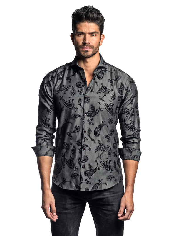 Grey Black Flock Pattern Shirt for Men ITA-T-8129 - Jared Lang