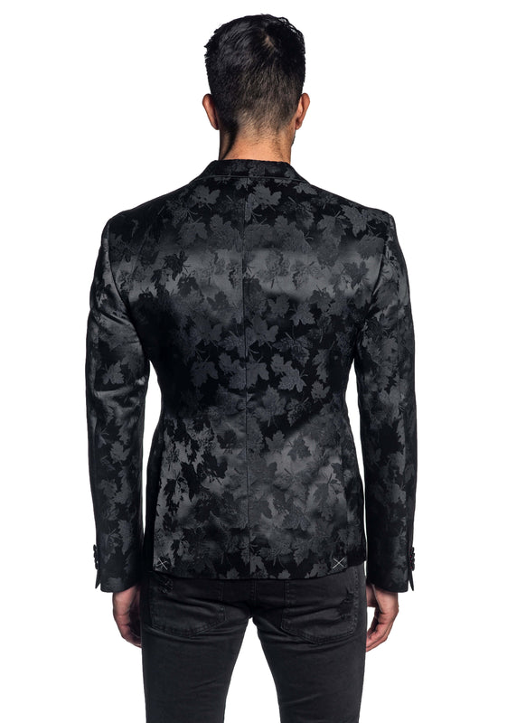 Black Jacquard Blazer for Men JASON-500084 - Back - Jared Lang