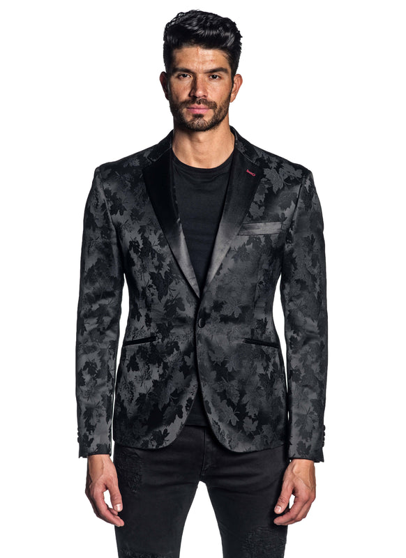 Black Jacquard Blazer for Men JASON-500084 - Front - Jared Lang