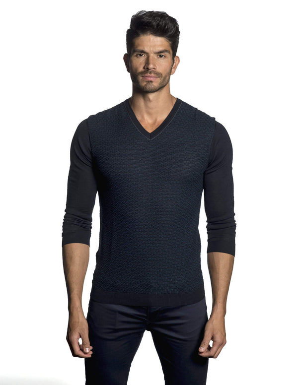 Navy Sweater Crew Neck for Men JL-04 - Front - Jared Lang