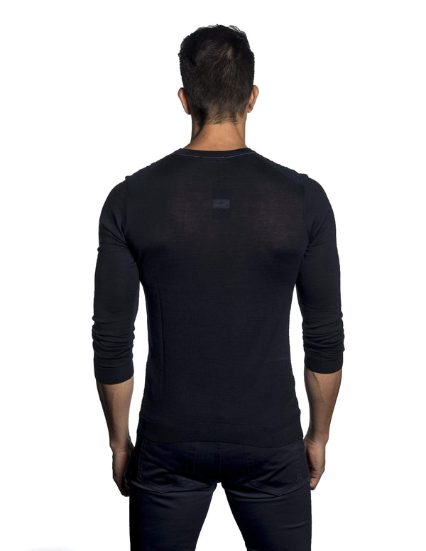 Navy Sweater Crew Neck for Men JL-04 - Back - Jared Lang