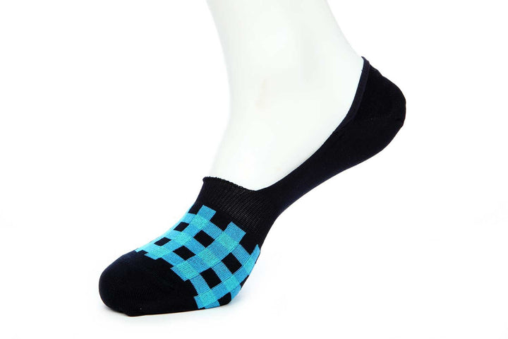 Navy and Turquoise Plaid No Show Socks for Men JL-10023-1 - Jared Lang