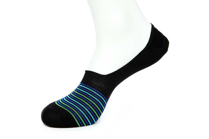 Navy Stripe No Show Socks for Men JL-10043-2 - Jared Lang