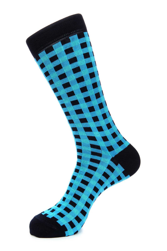 Navy Turquoise Gingham Mercerized Socks for Men JL-9023-1 - Jared Lang