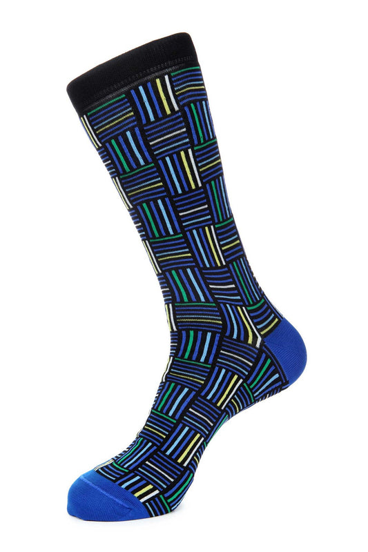 Navy Blue Mercerized Socks for Men JL-9037-1 - Jared Lang