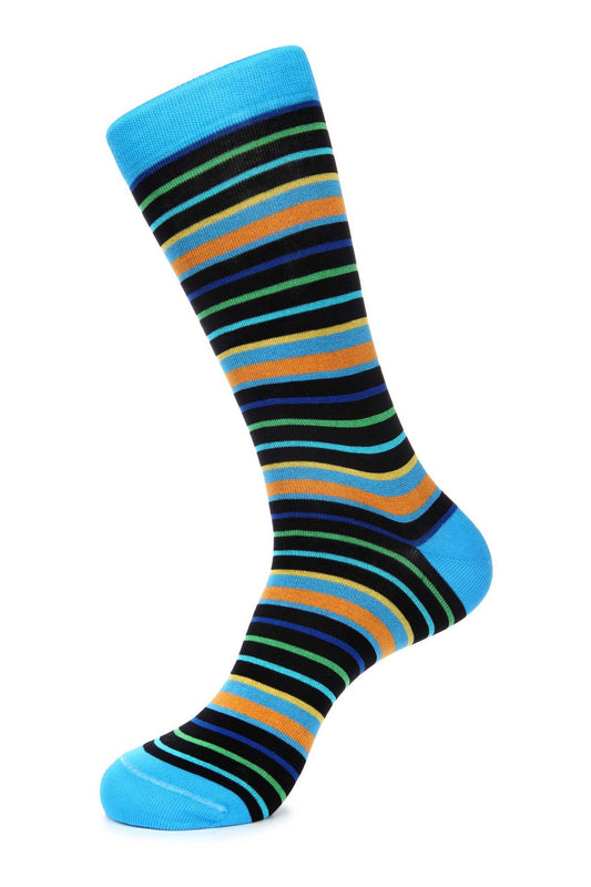 Navy Turquoise Mercerized Socks for Men JL-9042-1 - Jared Lang