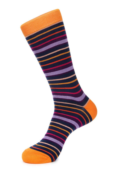 Navy Orange Purple Mercerized Socks for Men JL-9042-2 - Jared Lang