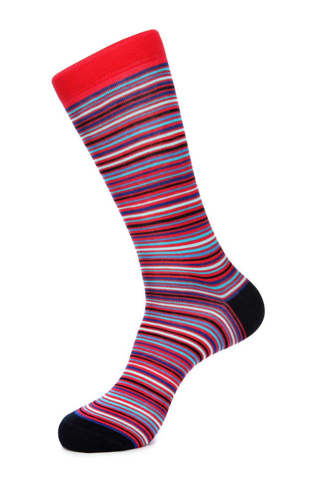 Red Navy Stripe Mercerized Socks for Men JL-9048-3 - Jared Lang