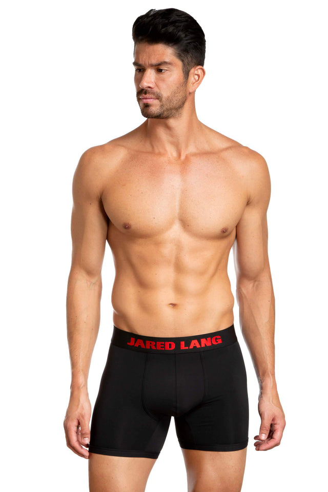 Pack of 3 Black and Red Boxer Briefs for Men JLBX1-777 - Black and Red front - Jared Lang