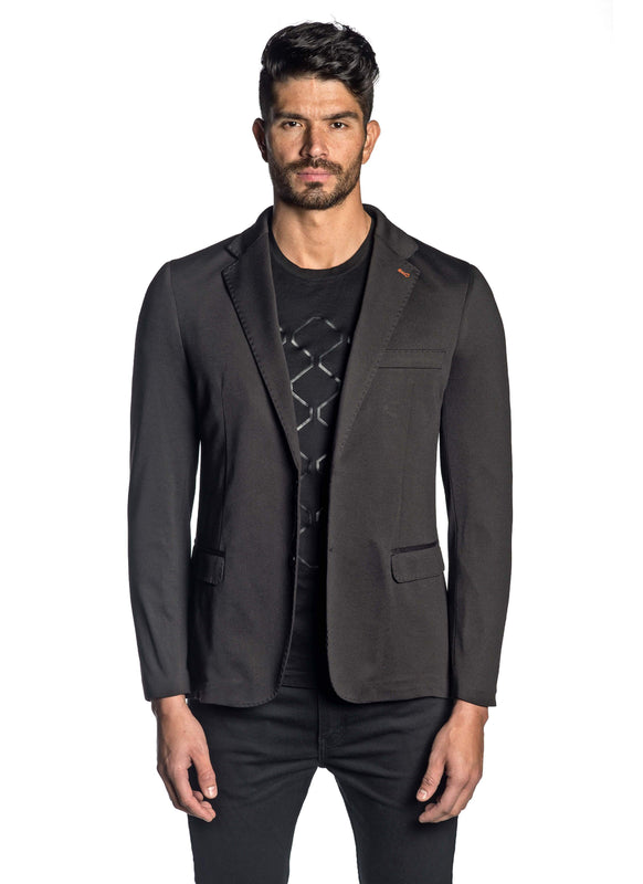 Black Solid Knit Blazer for Men LAMBO-001 - Jared Lang