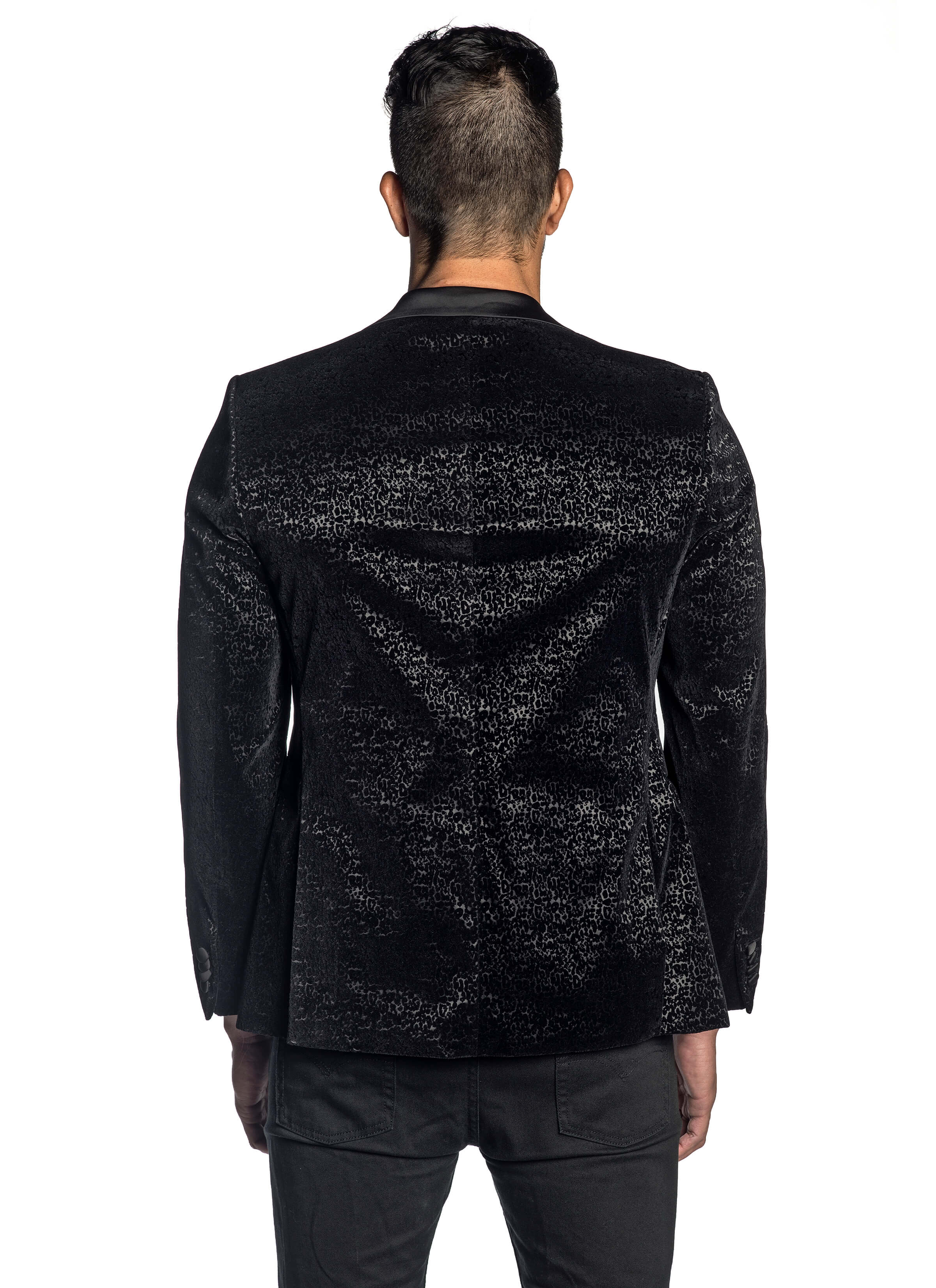 Black Flocking Blazer with Satin Lapel LAX-001 - Jared Lang
