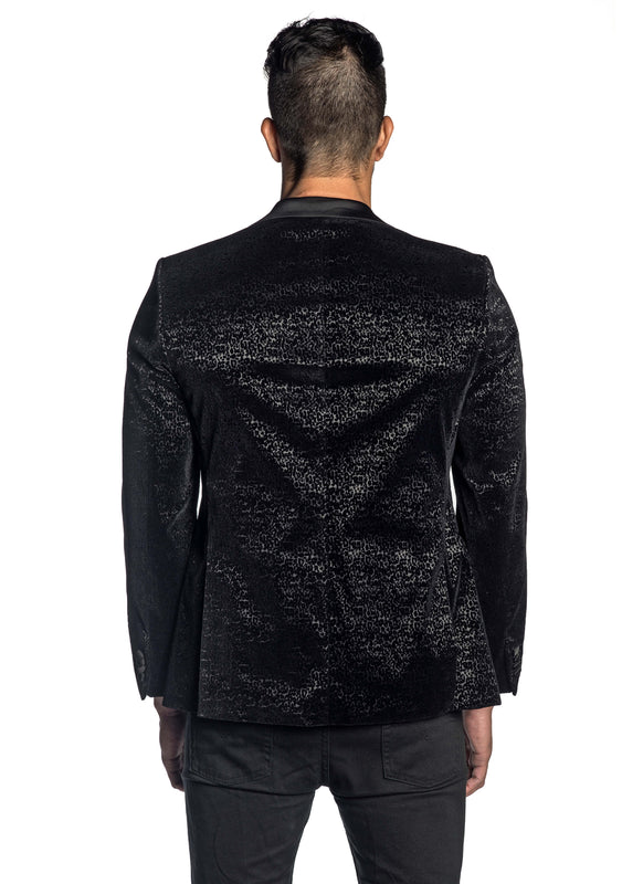 Black Flocking Blazer with Satin Lapel LAX-001 - Back - Jared Lang