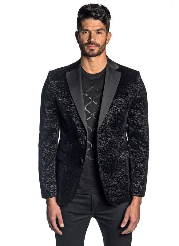 Black Flocking Blazer with Satin Lapel LAX-001 - Front - Jared Lang