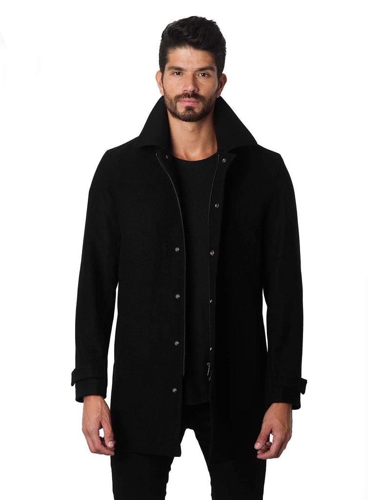Wool Black 3/4 Jacket - front Los Angeles 2A