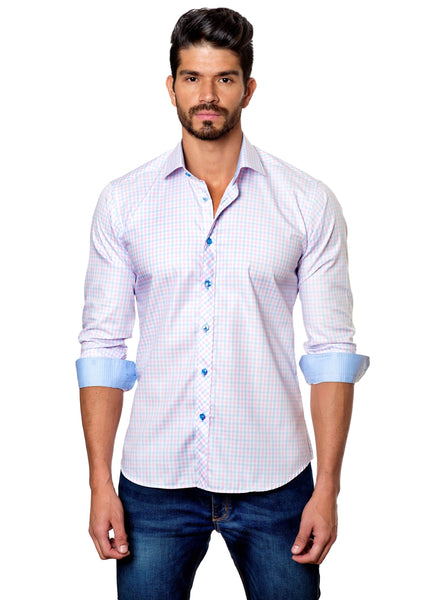 White Check Plaid Shirt for Men - front OT-04 - Jared Lang Collection