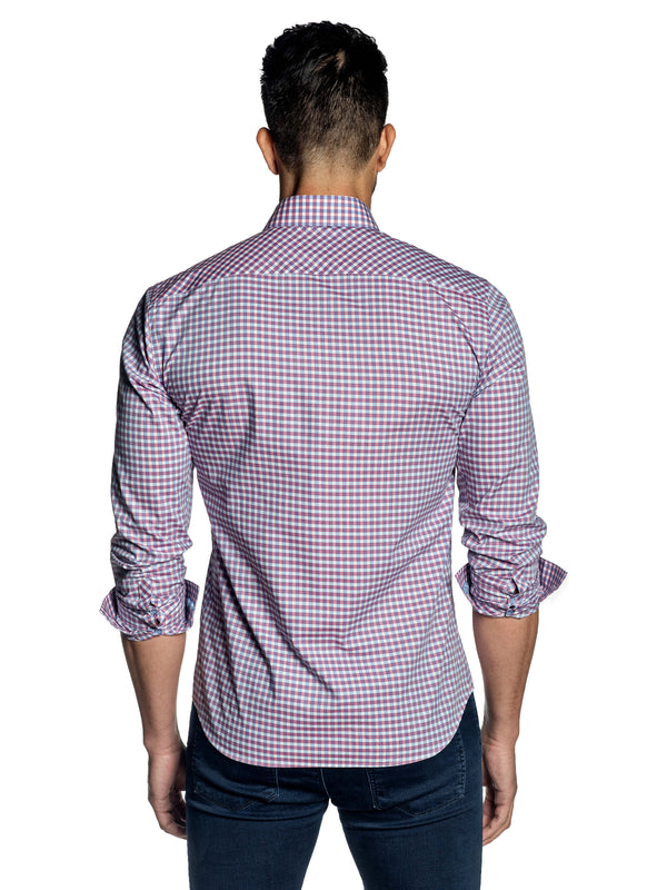 Pink White Blue Check Shirt for Men OT-102 - Back - Jared Lang