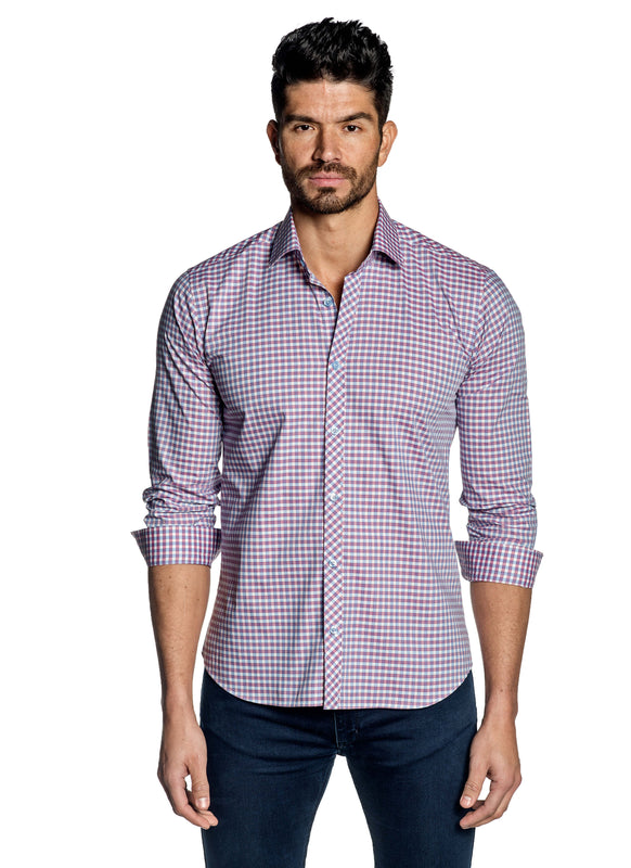 Pink White Blue Check Shirt for Men OT-102 - Front - Jared Lang